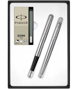 Zestaw Parker Jotter Stalowy CT Pióro Długopis z Nabojami